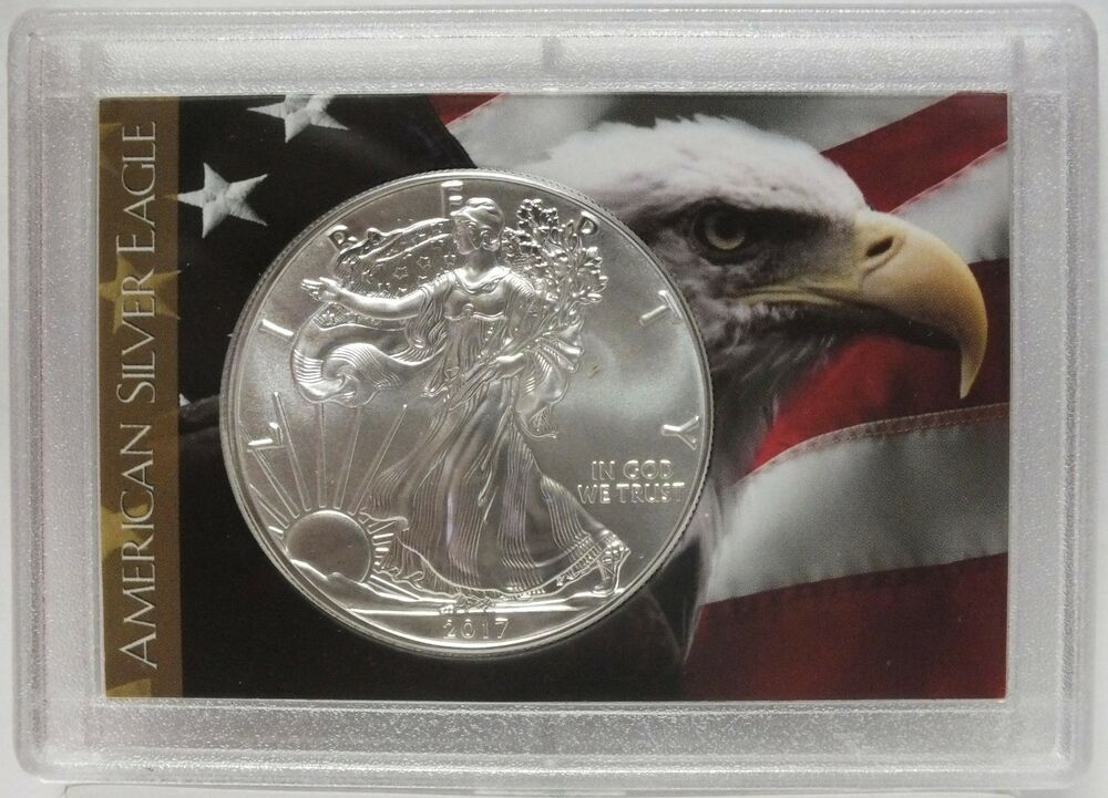 2017 American Eagle Silver Dollar 1 Oz Usa Flag Old