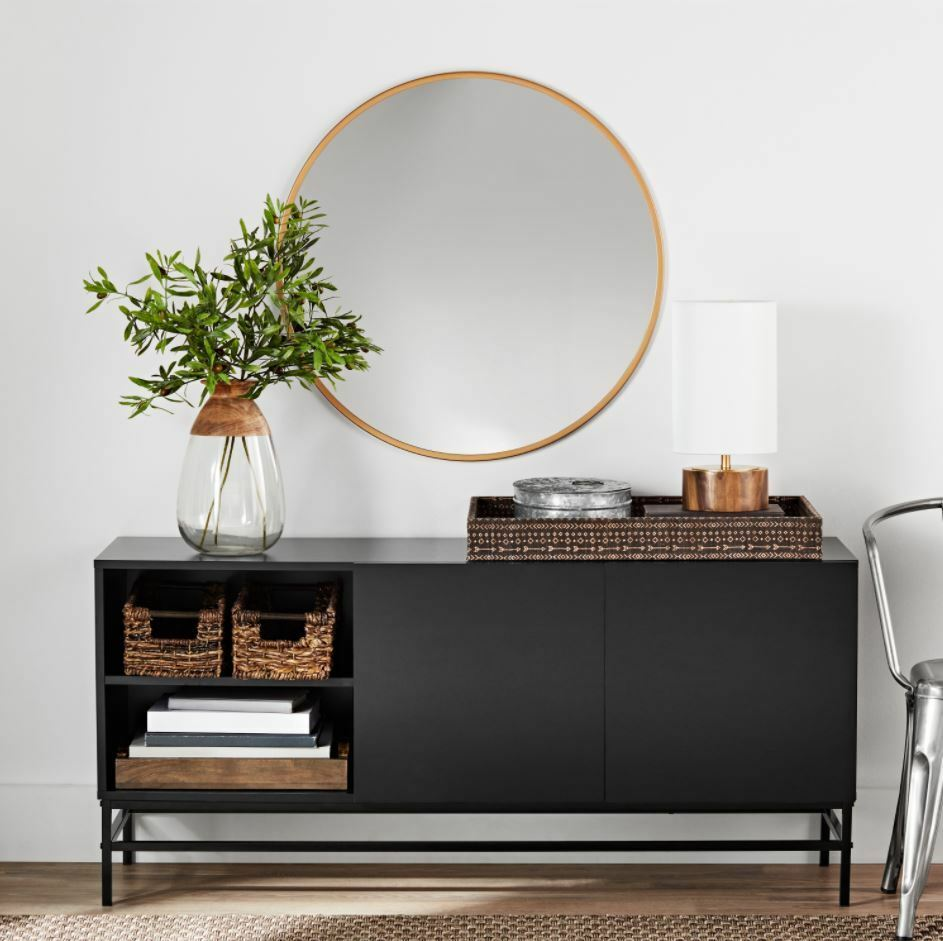 Details About Smart Tv Stand 4k Credenza Buffet Table Sideboard Storage Console Black