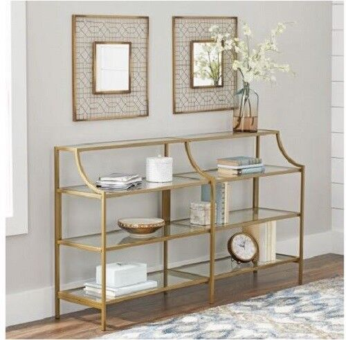 Slim Console Table Gold Metal Glass Display Shelves Living