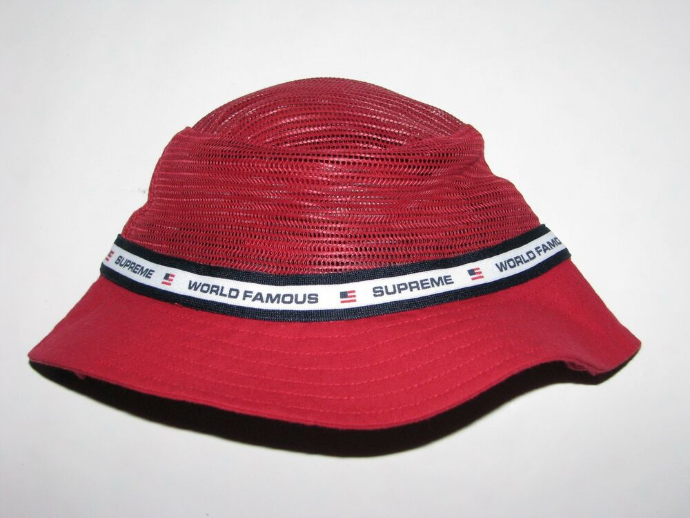 Details about SUPREME Mesh Crown Crusher RED Bucket Hat Cap Small   Medium  NEW! S S 2017 ea8f1cda9bf