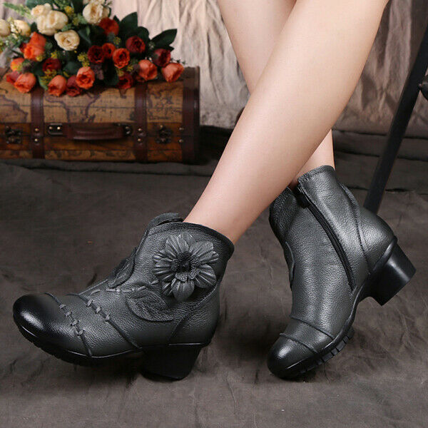 SOCOFY Vintage Women Zipper Ankle Leather Boots Floral