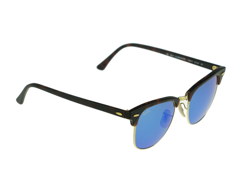 7087dc7ccbb Details about NEW Genuine RAY-BAN CLUBMASTER Tortoise Blue Mirrored  Sunglasses RB 3016 1145 17
