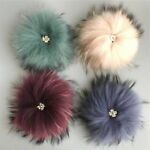 15cm 100% Real Raccoon Fur Fluffy Pom Pom Ball with Snap Button Hat Accessories