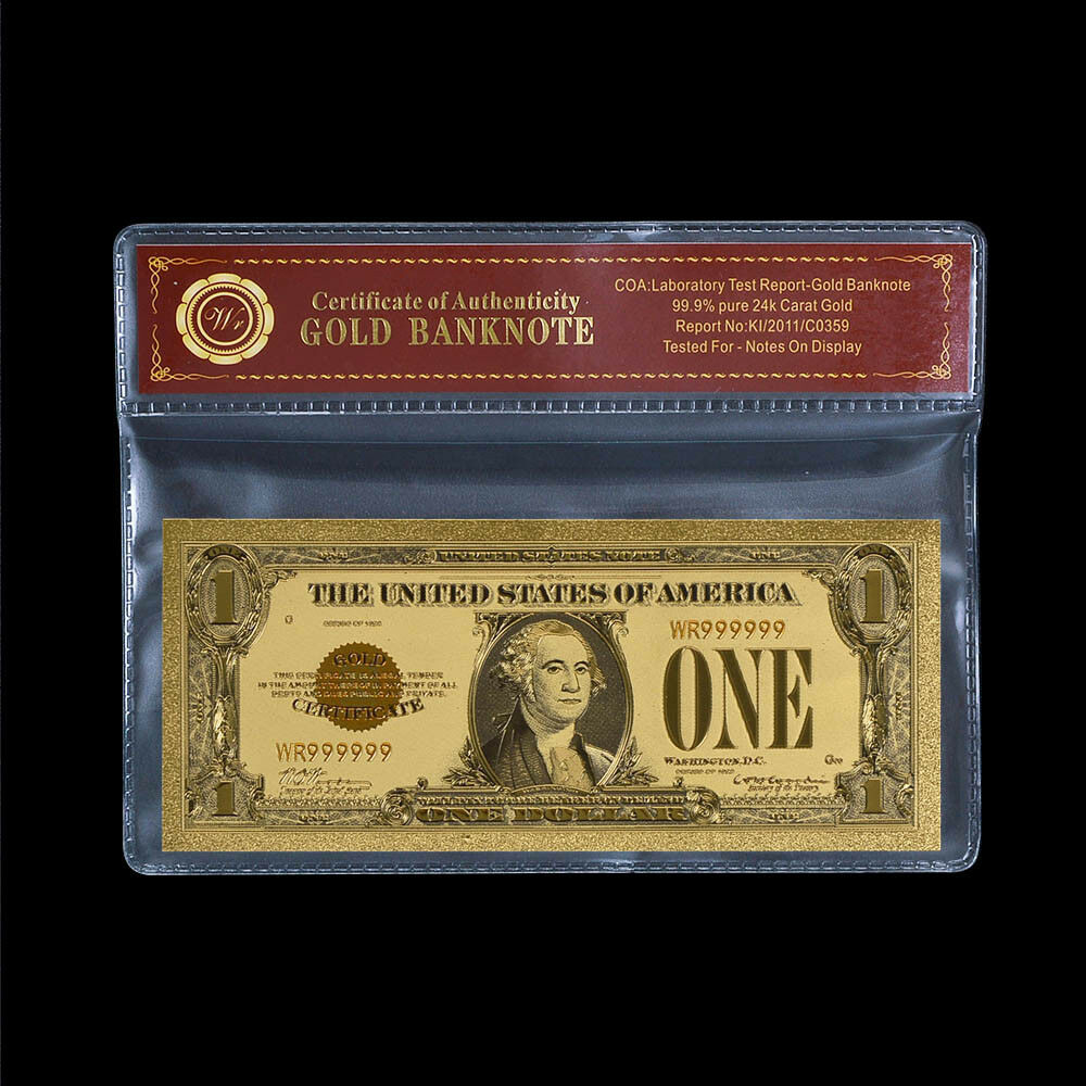 De S About Wr 1928 1 Silver Certificate One Dollar Bill Notes 24k Gold Foil Banknote Coa