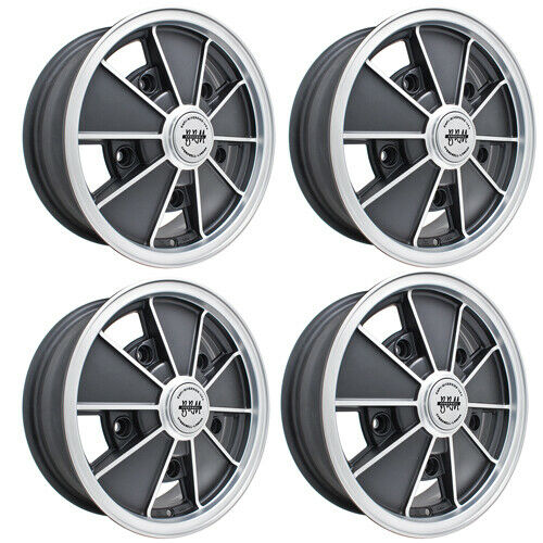 Details About Brm Wheels Black With Silver Lip 5 Wide On 205mm Vw Dunebuggy