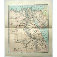 Original 1893 Map of Egypt by Dodd Mead & Company. Antique