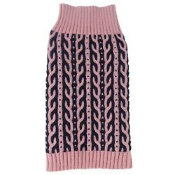 NEW Pink Navy Heavy Cable Knit Dog Sweater Clothing Pet Life (Choose XS / S / L)
