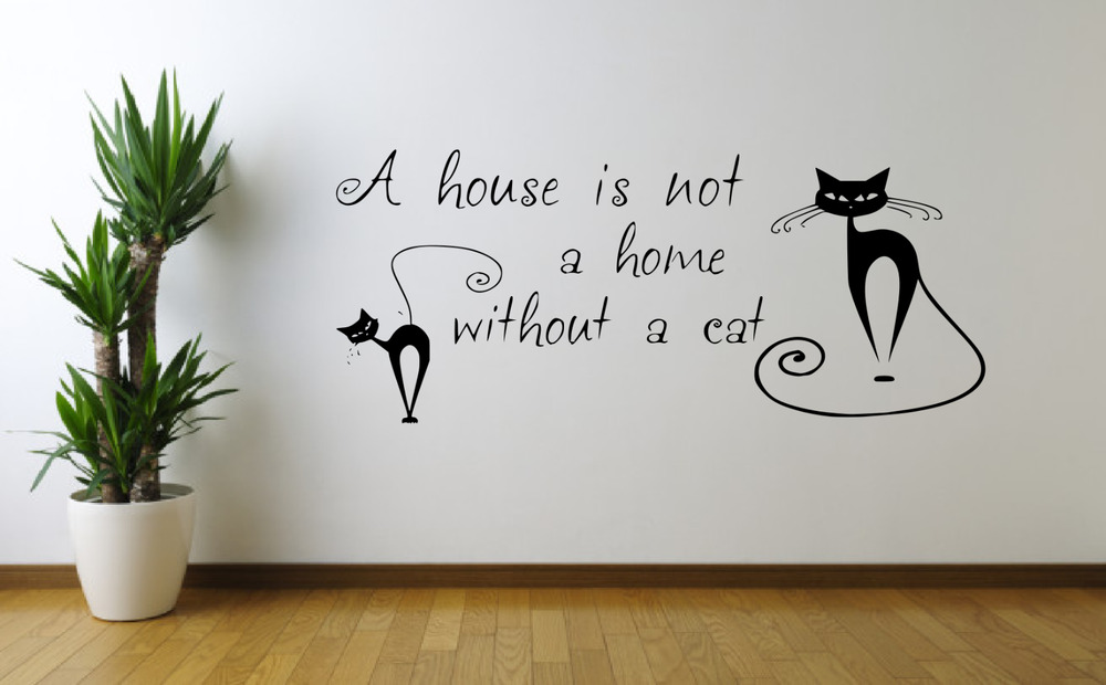 not a home without a cat quote wall art sticker decal home decor