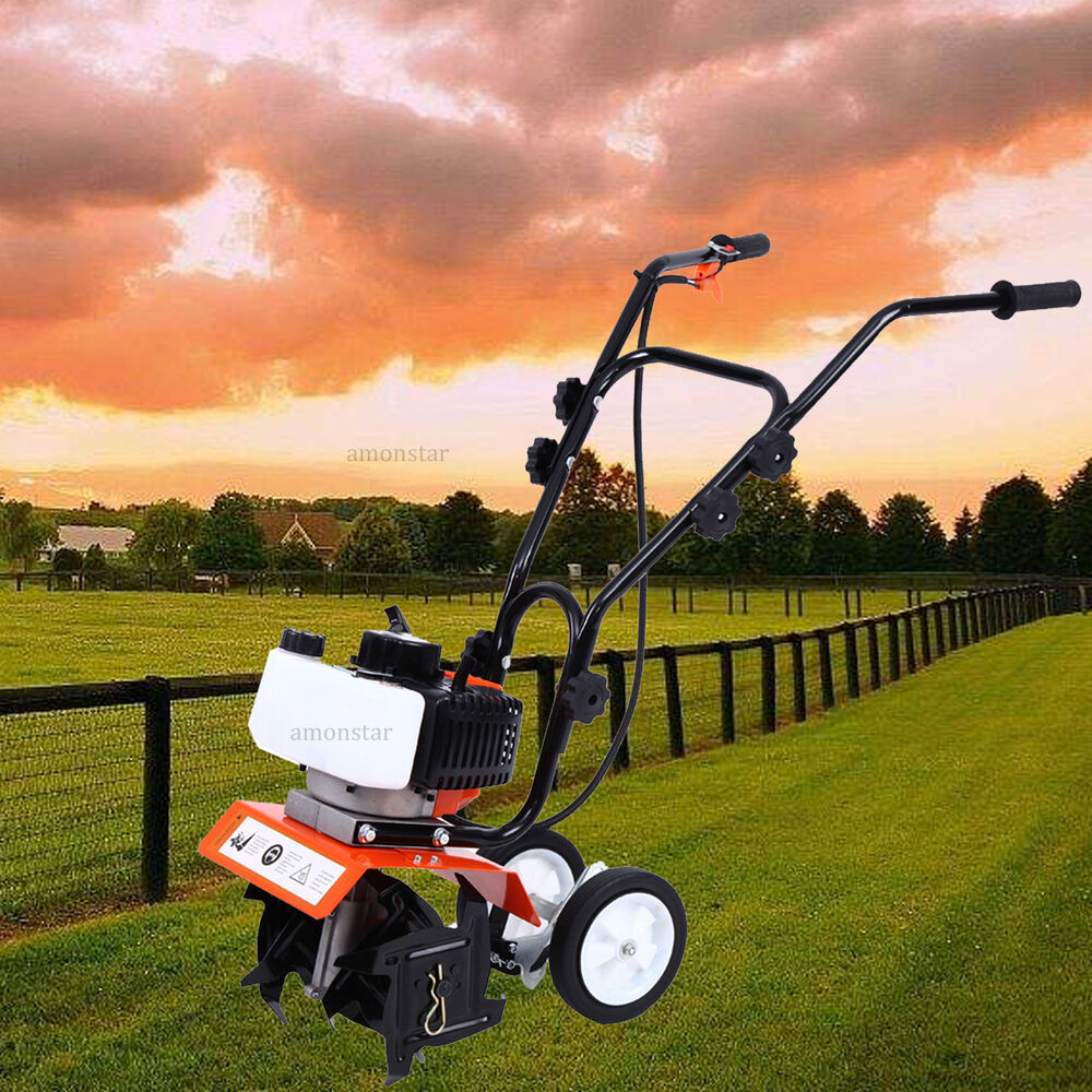 Tilling Backyard: Mini Garden Tiller Cultivator Gas Powered 2 Stroke Tilling