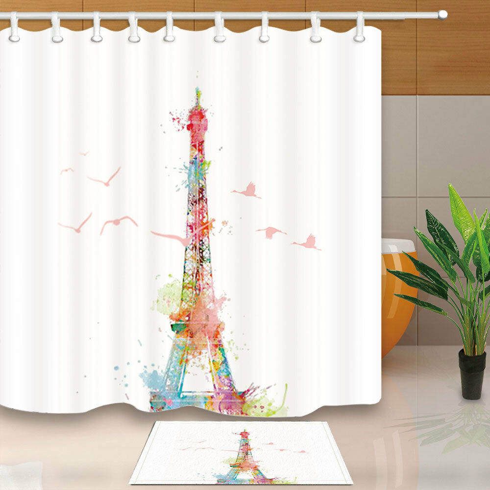 Details About Watercolor Eiffel Tower And Birds Bathroom Fabric Shower Curtain Waterproof 71