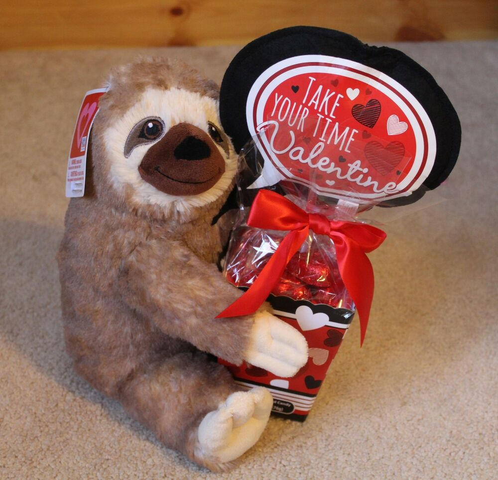 Sloth Plush With Chocolate Valentineu0027s Day Gift Stuffed Animal And Candy  Buddy