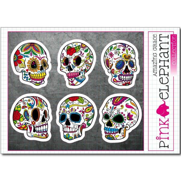 Sugar Skull Aufkleber - ssk25-30 - Day of the dead - Totenkopf - calavera - Set