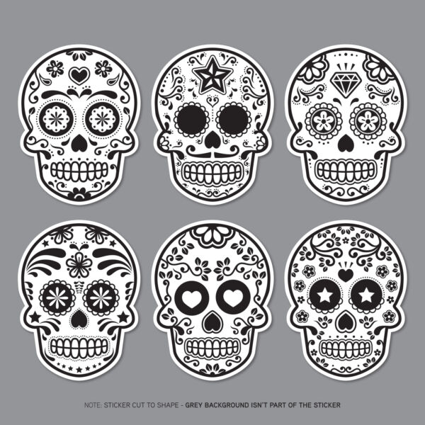 6 x Day Of The Dead - Calavera - Sugar Skull - Flower - Decals Stickers - 2806