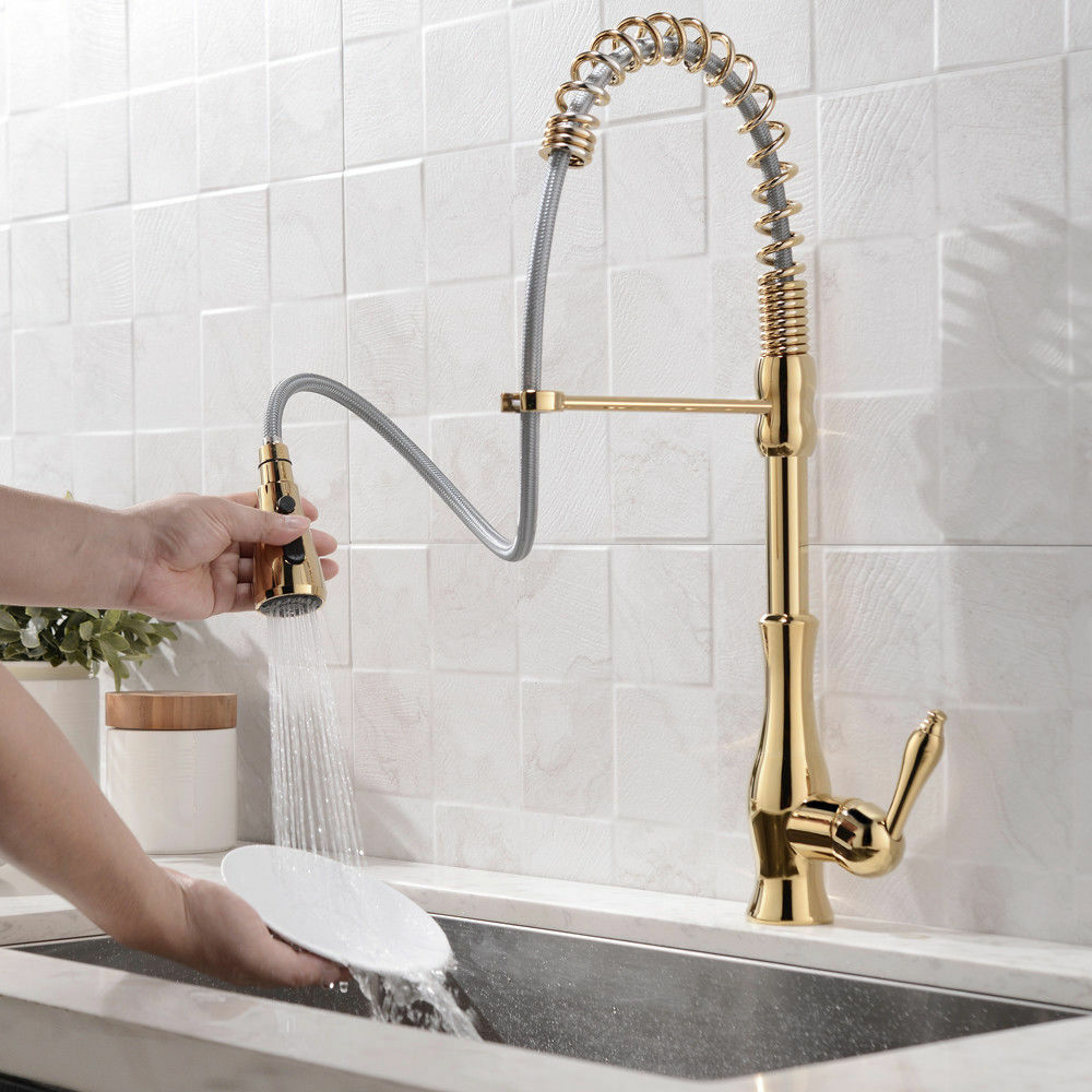 Modern Spring Pull Out Spout Gold Kitchen Sink Faucet Tap With 3 Function Spray