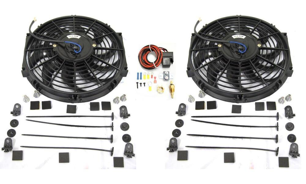 Details About Dual 12 S Blade Heavy Duty Electric Radiator Cooling Fan Thermostat Relay Kit