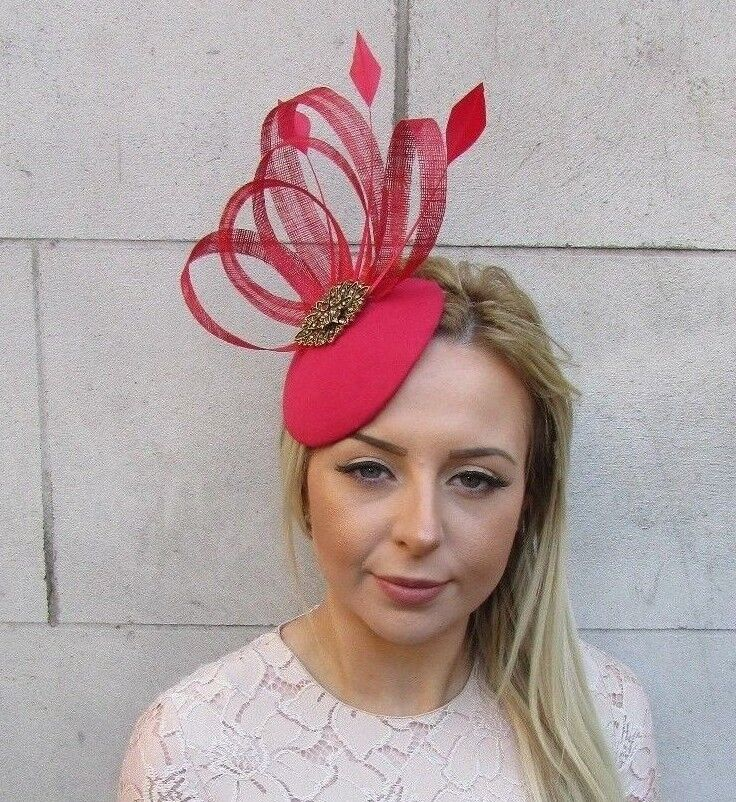 d2347fd7785 Details about Red Bronze Sinamay Feather Pillbox Hat Hair Fascinator Races  Hatinator Vtg 5170
