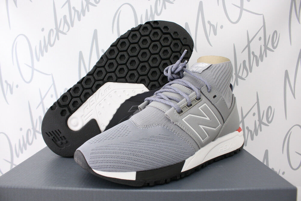 promo code 14356 9ffe2 Details about NEW BALANCE 247 MID SZ 9.5 GREY WHITE RED KNIT TRAINERS  REVLITE MRL247OD