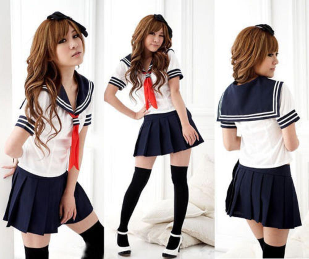 fcf378544 Details about Hot! Japanese High School Girl Sailor Uniform Cosplay Costume  dress Set