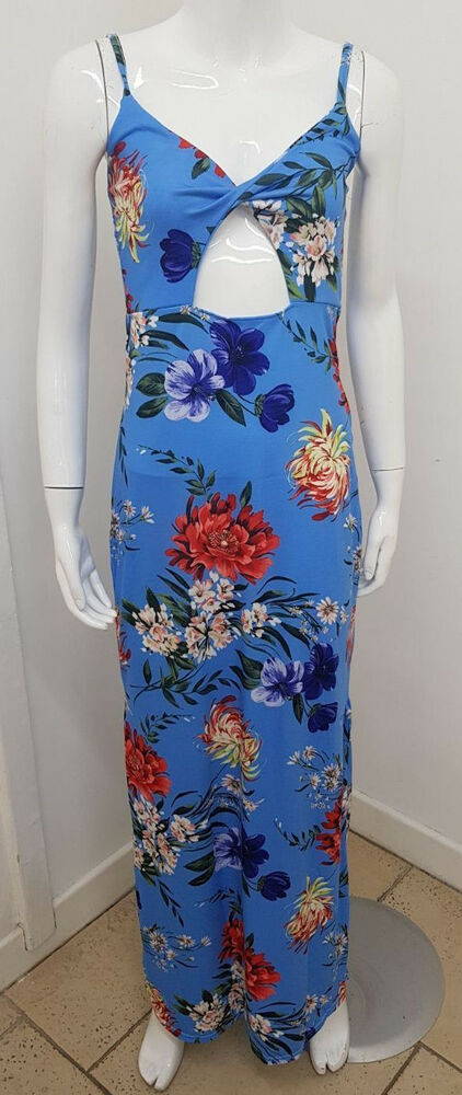 385491b2a9da Details about Ex Boohoo BLUE Floral Print Cut Out Maxi Dress Summer Holiday  Size 8 - 16