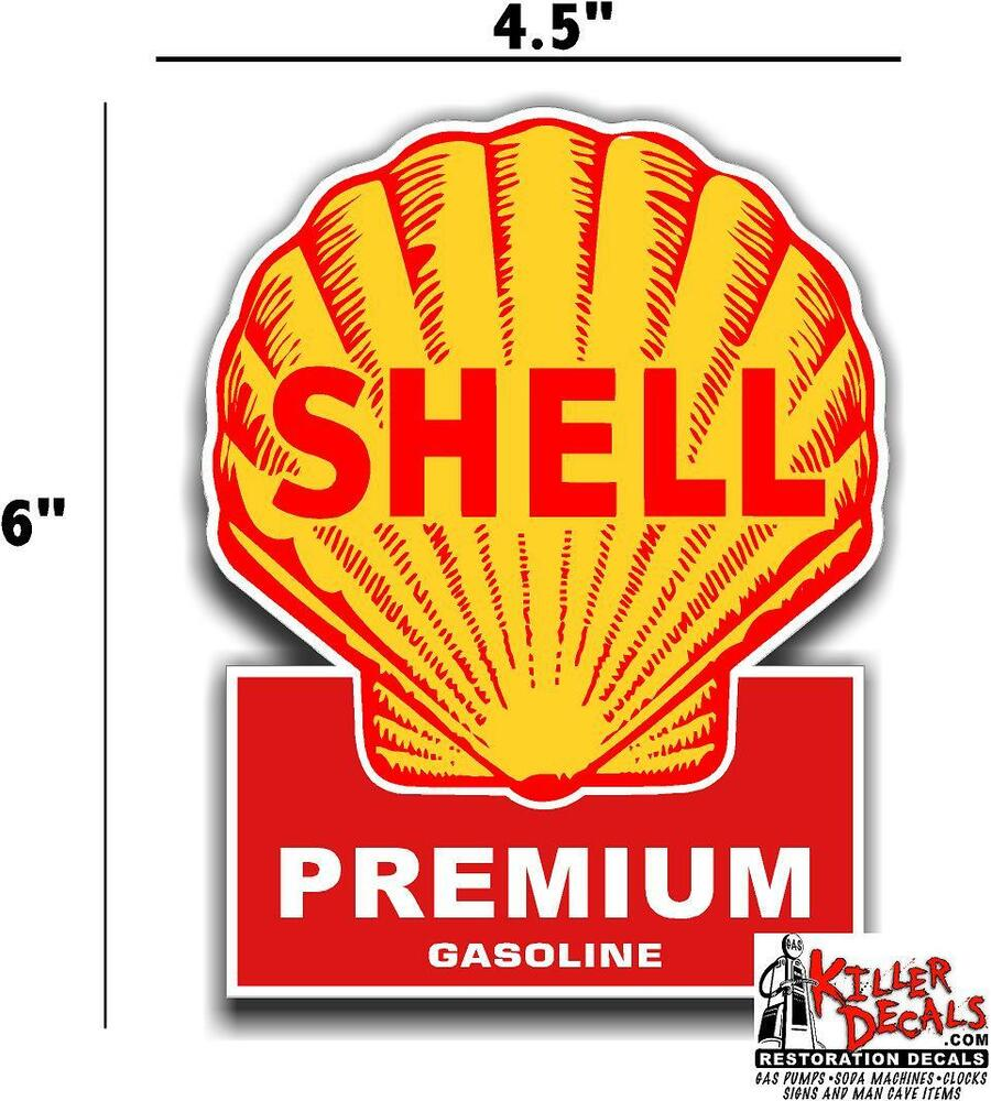 Shell 4 6 Shell Gasoline Pump Lubster Decal Gas Oil Sign Wall