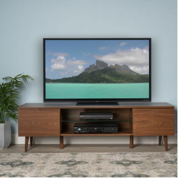 Smart Tv Stand Mid Century Modern Retro Entertainment Center 55 4k Fire Walnut 616175581741 Ebay