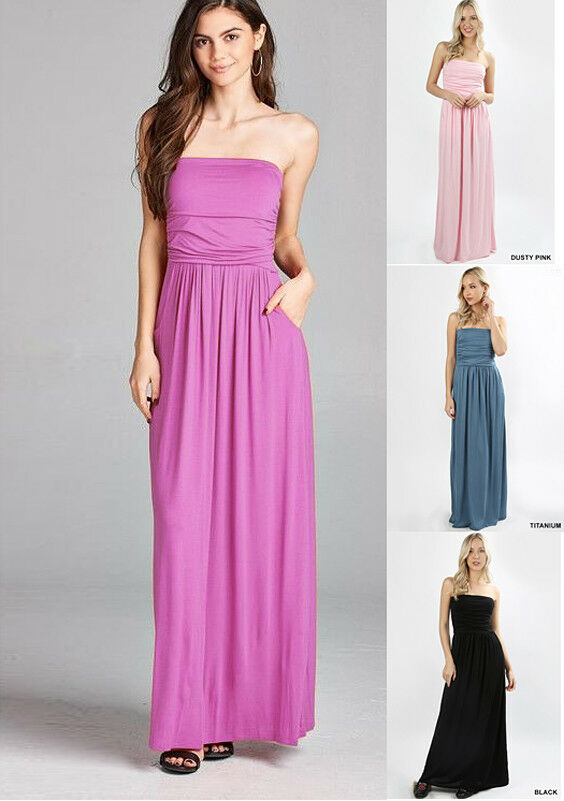 66e8396318 Details about USA Women s Solid Maxi Dress Strapless Long Flowy Casual Soft Knit  Tube Summer