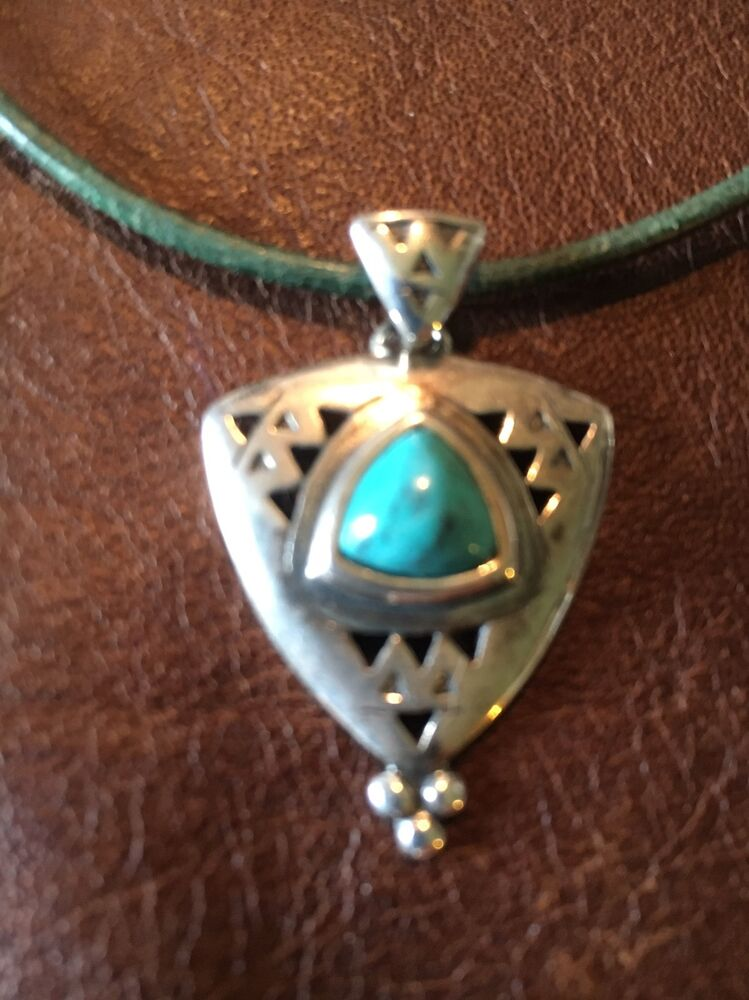 Vintage Carolyn Pollack Sterling Silver 925 Turquoise Pendant Leather Chain Ebay