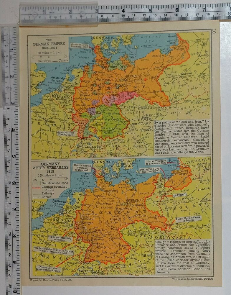 1941 WW2 MAP GERMAN EMPIRE 1870-1914 ~ AFTER VERSAILLES 1919 ...