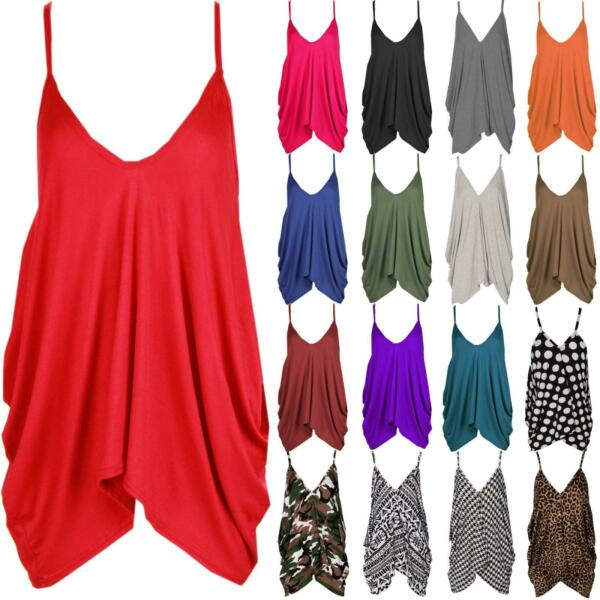 Ladies V-Neck Baggy Lagenlook Cami Vest Top Strappy Plain Oversize Loose Hanky