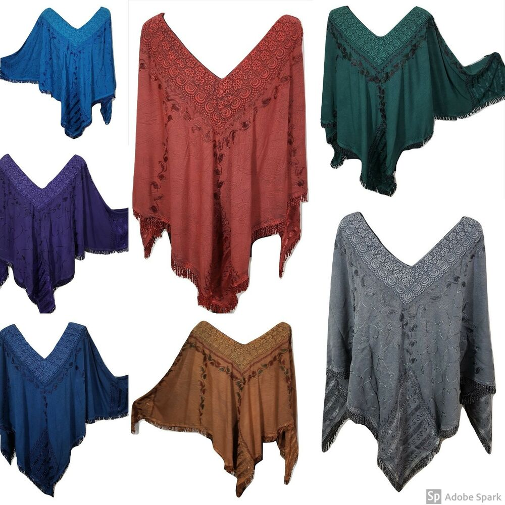 Bohemian Embroidered Thick Lace Poncho Fringe Tassel 8 10 12 14 16 ...