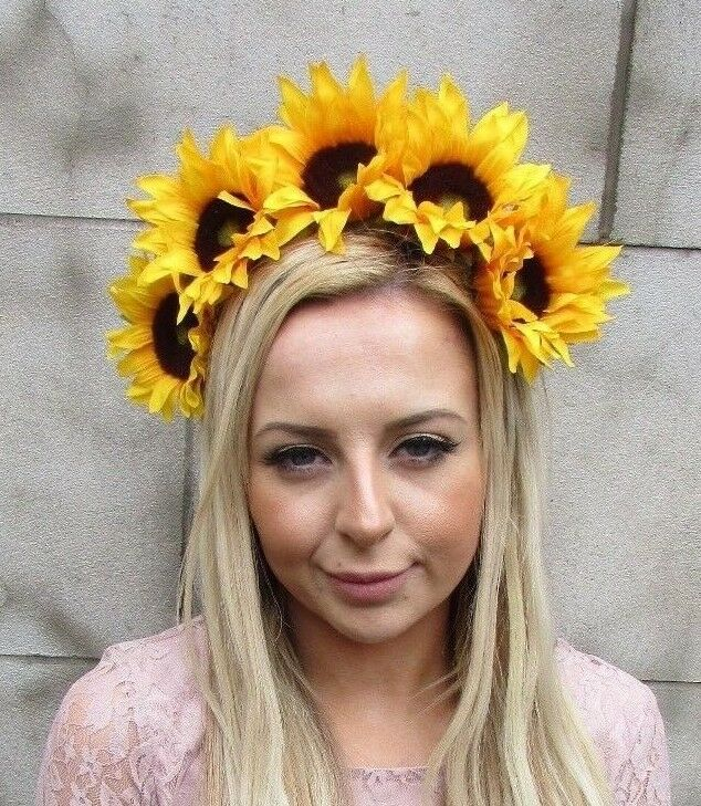Large Yellow Sunflower Flower Headband Hair Crown Festival Garland