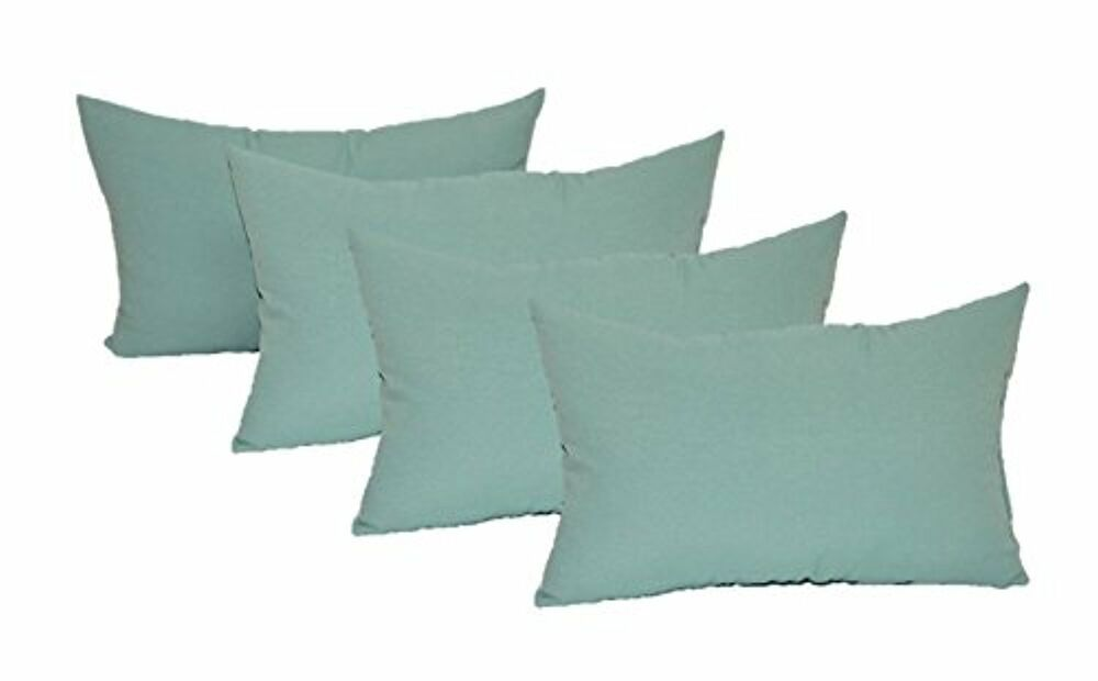 Set Of 4 In Outdoor Rectangle Lumbar Throw Pillows Solid Spa Aqua