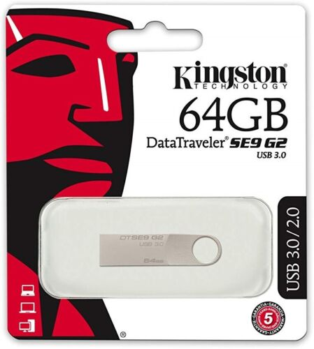 Kingston 64GB USB 3.0 Metal Key Chain Flash Memory Drive 64 GB DTSE9G2/64GB