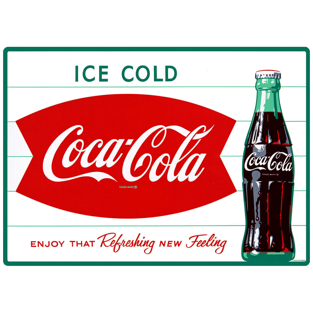 Ice Cold Coca Cola Fishtail 1960s Wall Decal Restaurant