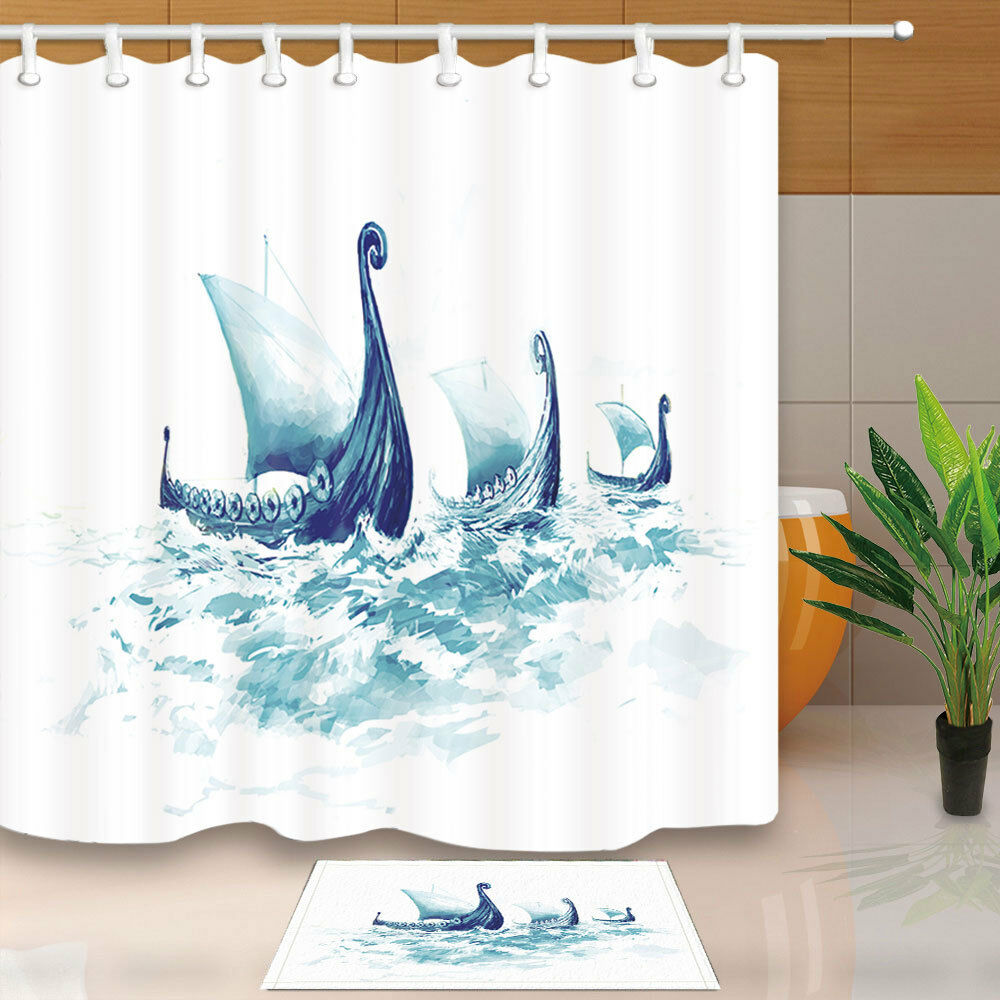 Details About Vikings Ships In Ocean Watercolor Bathroom Fabric Shower Curtain With Hooks 71