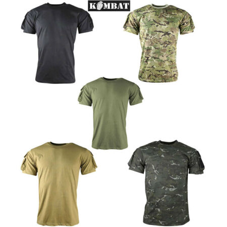 img-Kombat Mens Tactical Army Military Pocket T-Shirt Surplus Black Camo Green New