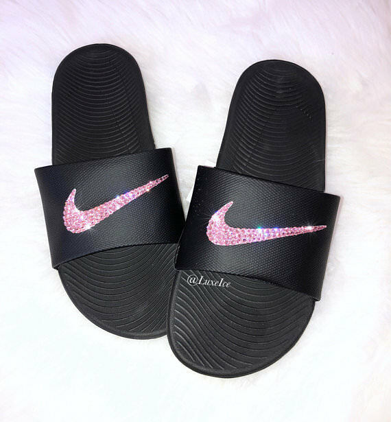 68b79477d814 Nike KAWA Slides Black customized with Light Rose Pink Swarovski Crystals