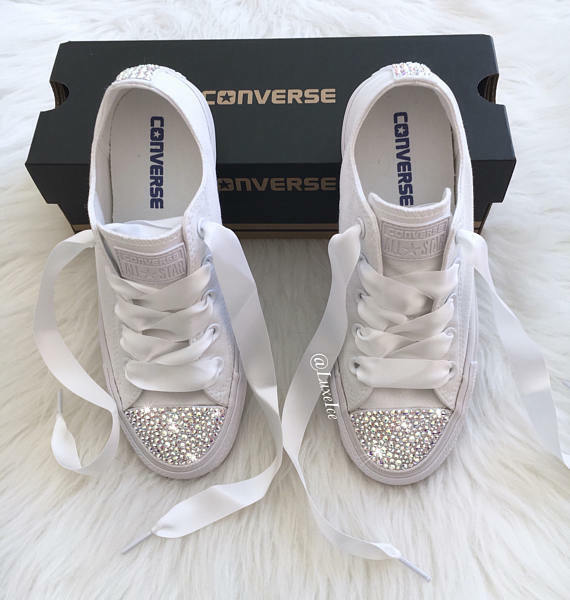 c48942209 Details about Converse All Star Chuck Taylor - White Monochrome with  SWAROVSKI® Crystals.