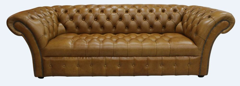 Chesterfield Balmoral Vintage 3 Seater Buttoned Sofa Old English Tan
