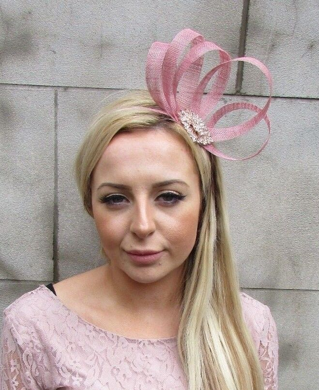 Details about Dusky Dusty Pink Rose Gold Silver Sinamay Fascinator Alice  Band Headband 5512 0ee399815ea