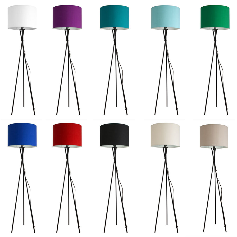 Details About Large Modern Tripod Floor Standard Lamp Lounge Light Cotton Drum Shades