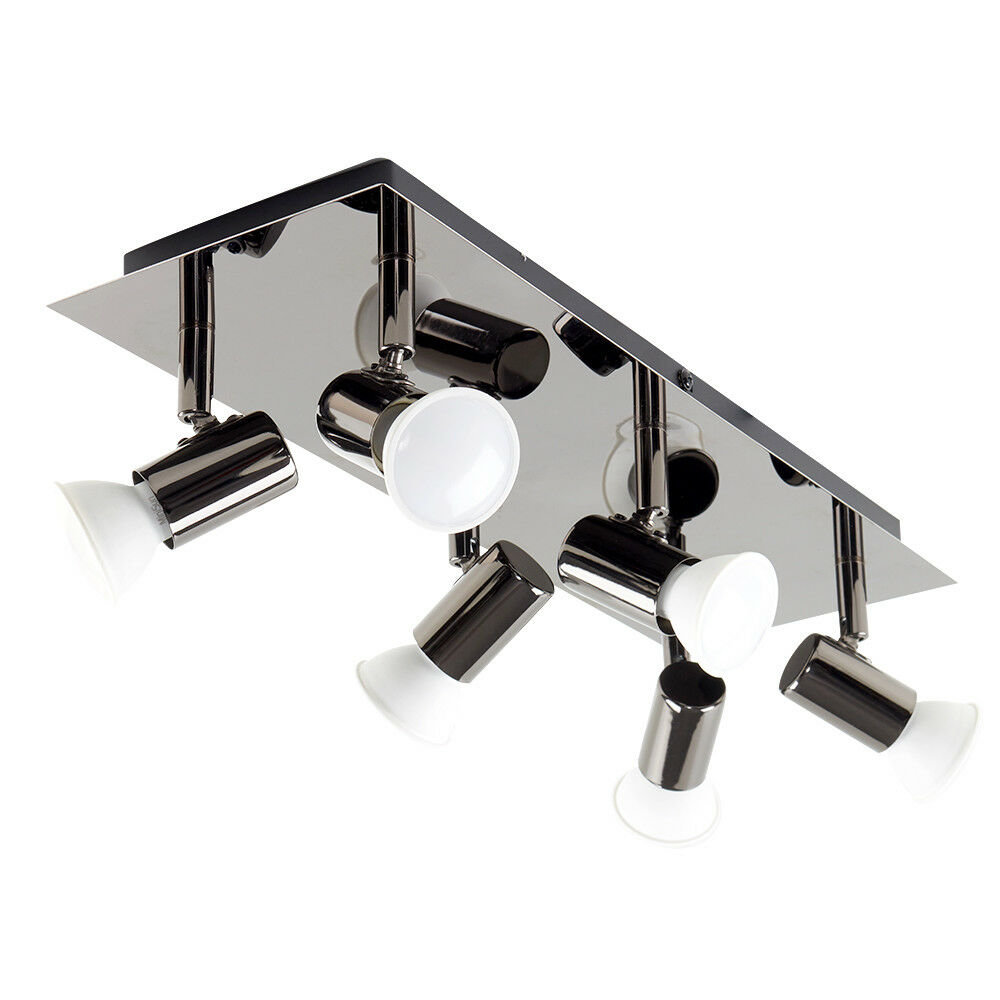 Large Modern Black Chrome 6 Way GU10 Kitchen Ceiling Spot