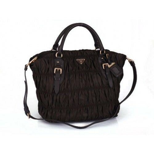 3372d30371e0 Details about Authentic Prada Nappa BN1611 Leather Gaufre Ruched Hobo Shoulder  Bag Black