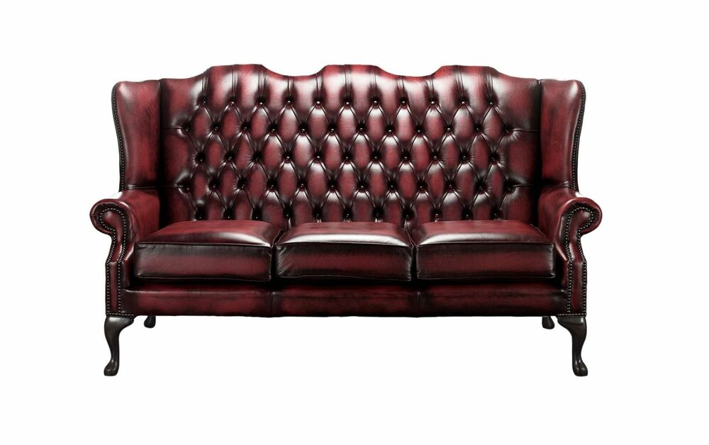 Chesterfield 3 Seater Queen Anne Mallory High Back Oxblood Leather ...