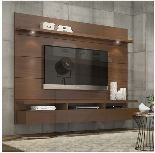 floating entertainment center wall unit tv stand flat screen inch mount brown ebay. Black Bedroom Furniture Sets. Home Design Ideas