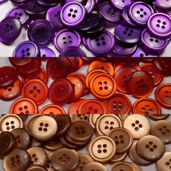 beige purple round glossy translucent buttons   4 four hole   19mm   22.5mm