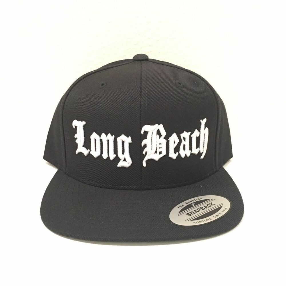 23669c47604db Details about Long Beach Cap Yupoong Classic Snapback Hat Custom Embroidery  Adjustable Black