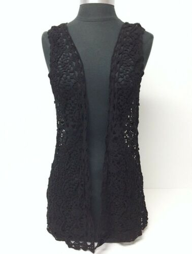 New Fashion Women Crochet Lace open front Vest Summer Cover-Up Top Blouse, Black