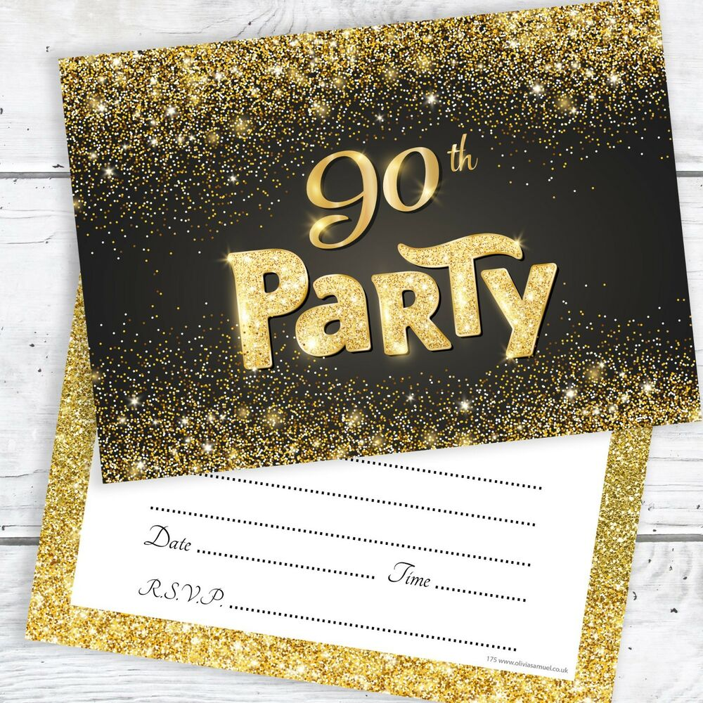 Details About 90th Birthday Invitations Black And Gold Glitter Effect With Envelopes Pack 10