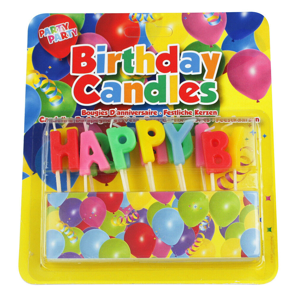 Details About HAPPY BIRTHDAY Candles Party Cake Topper Decoration Set Coloured Letters Event